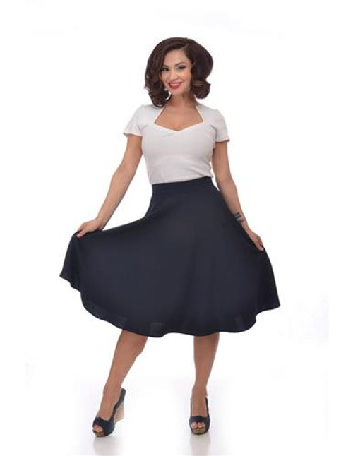 Steady High Waist Thrills Skirt - Navy