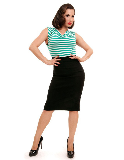 Steady Sally Wiggle Dress - Black/Mint