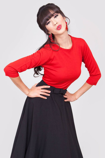 Tatyana Pullover 3/4 Sleeve - Red