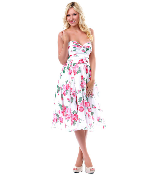 Unique Vintage Coming Up Roses Swing Dress