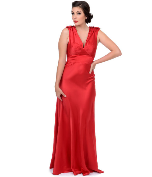Unique Vintage Harlow Gown - Red