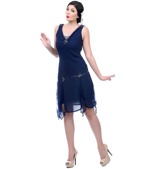 Unique Vintage Hemmingway Flapper - Navy