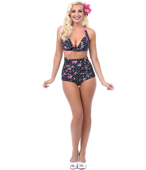 Unique Vintage Monroe Bikini Top - Black & Pink Floral