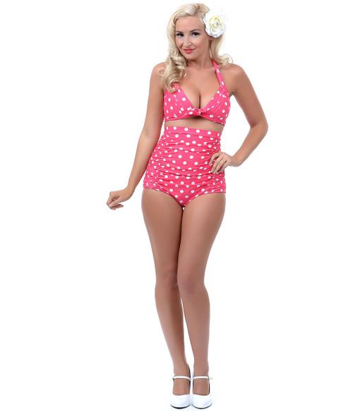 Unique Vintage Monroe Bikini Bottom - Pink & White