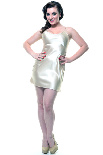 Unique Vintage Satin Slip Short - Champagne