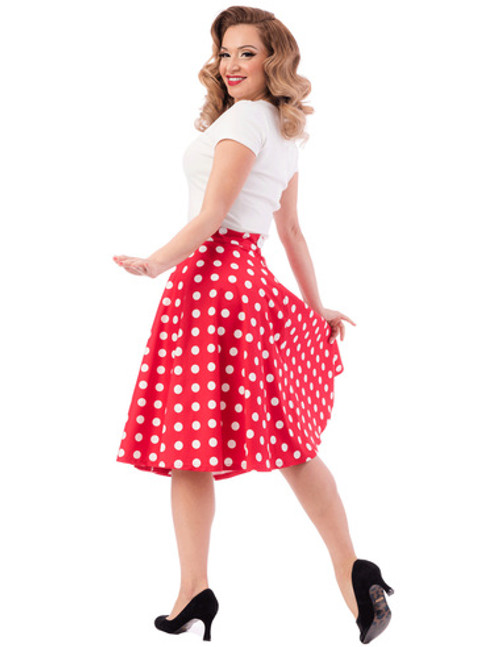 Steady Retro Dot Thrills Skirt - Red