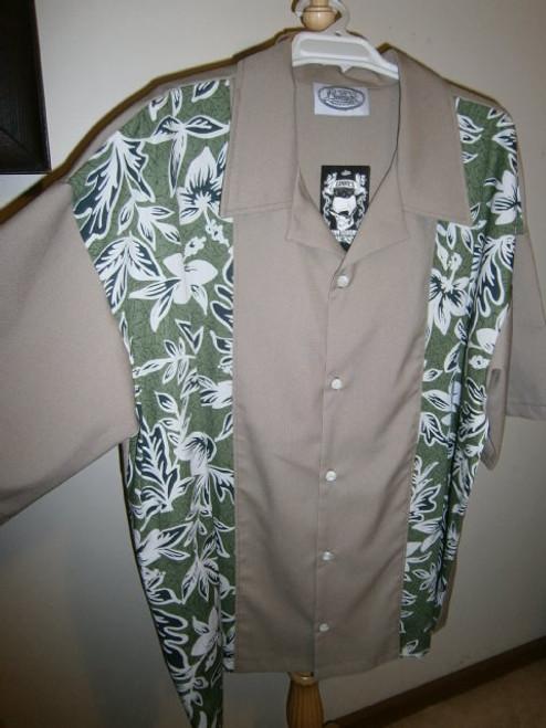 Lennys Mens Shirt - Beige Hibiscus