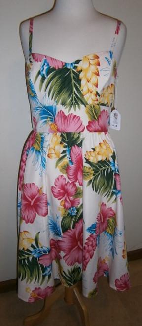 Bluebelle Vintage Sun Dress - White Tiki