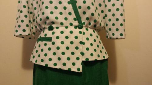 Vintage Green polka dot 2pce Skirt suit