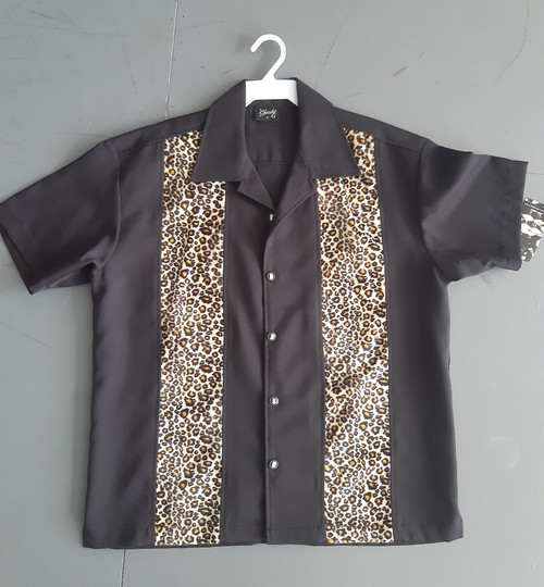 Steady Leopard Panel Button Up - Black