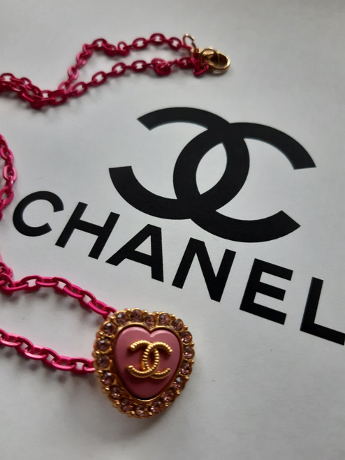 CHANEL necklace - Restyled designer drip by thestubbornco (pink heart)