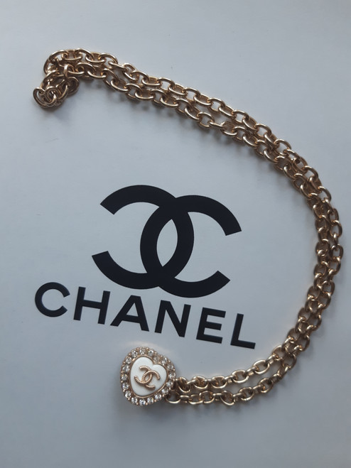 CHANEL necklace - Restyled designer drip by thestubbornco (white heart)