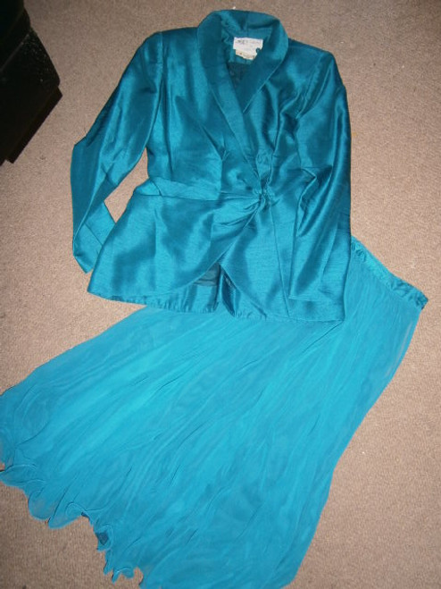 Teal 2pce skirt suit set