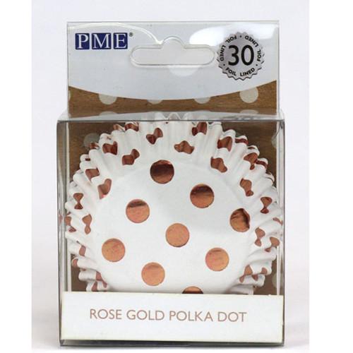 Rose Gold Polka Dot Foil Cupcake Liners