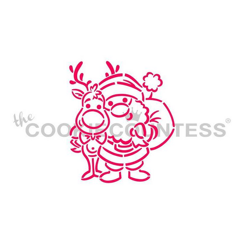 Santa and Rudolph PYO Cookie Stencil