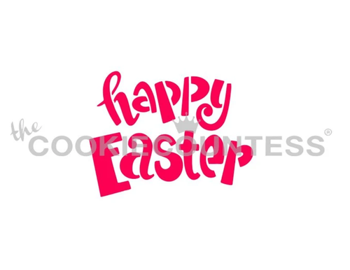 Happy Easter Fun Font Cookie Stencil