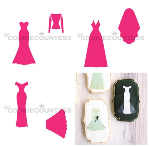 Wedding Dress Maker Cookie Stencil (3 pc)