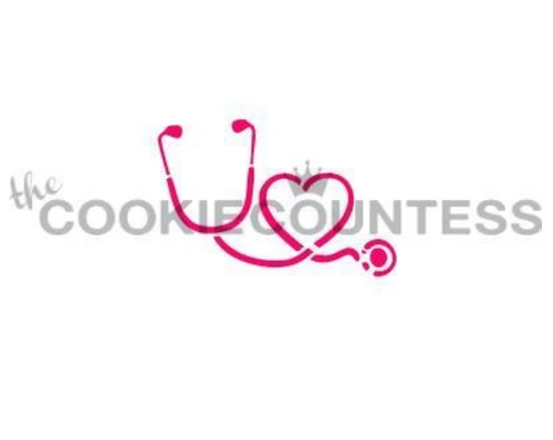 Stethoscope and Heart Cookie Stencil