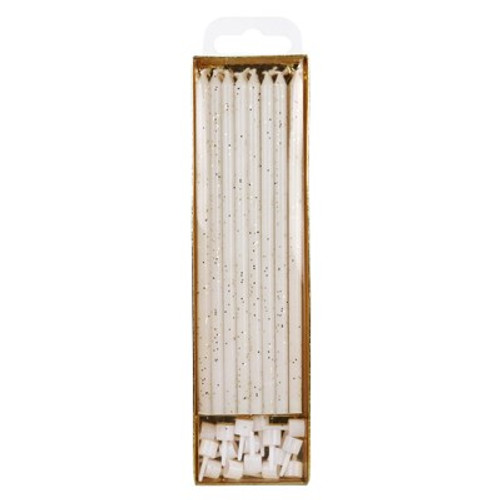 White Glitter Candles Extra Tall (16 pc)