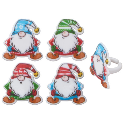 Holiday Gnomes Cake or Cupcake Toppers (8pc)