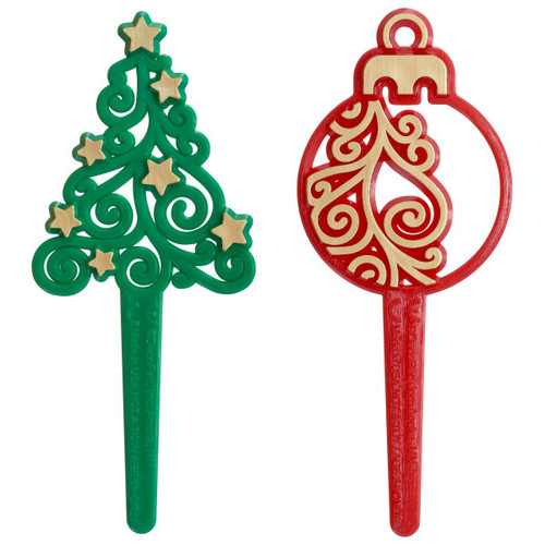 Tree & Ornament Cake or Cupcake Toppers (6 pc)
