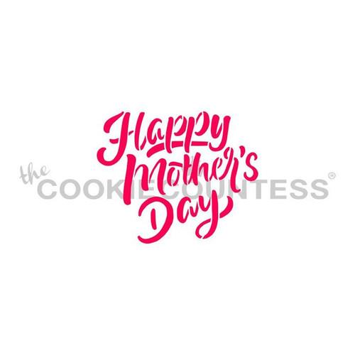Happy Mother's Day Script Cookie Stencil