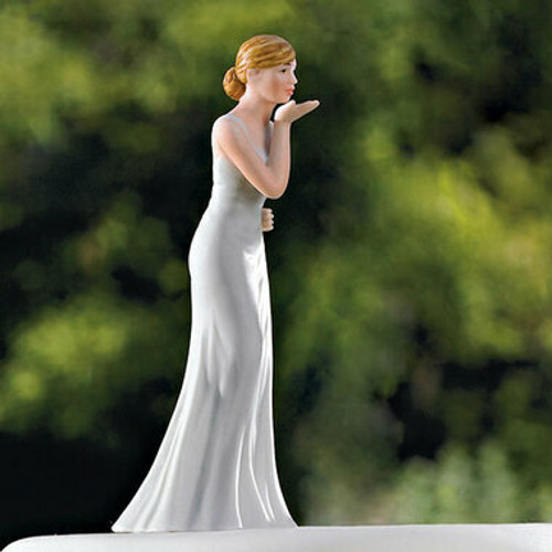 Bride Blowing Kisses Wedding Cake Topper