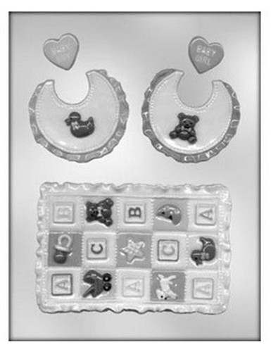 Baby Quilt and Bib Chocolate Mold