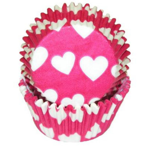 Heart Hot Pink Cupcake Liners