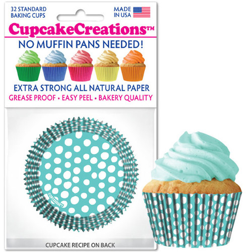 Caribbean Blue Dots cupcake Liners