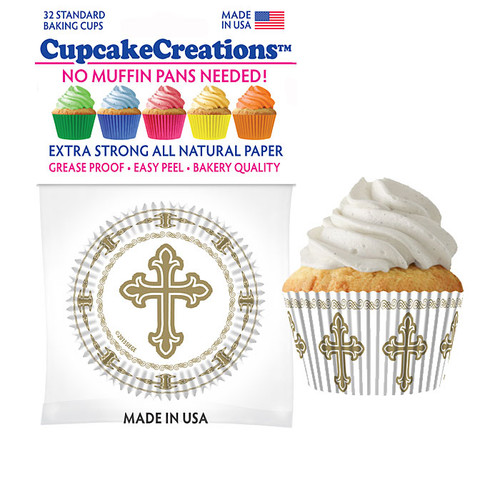 Gold Cross Cupcake Liners