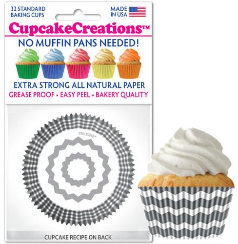 Chevron Silver Cupcake Liners