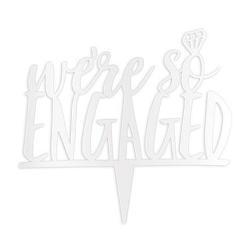 """We're so Engaged"" Wedding Cake Topper Acrylic White - (Duplicate Imported from BigCommerce)"