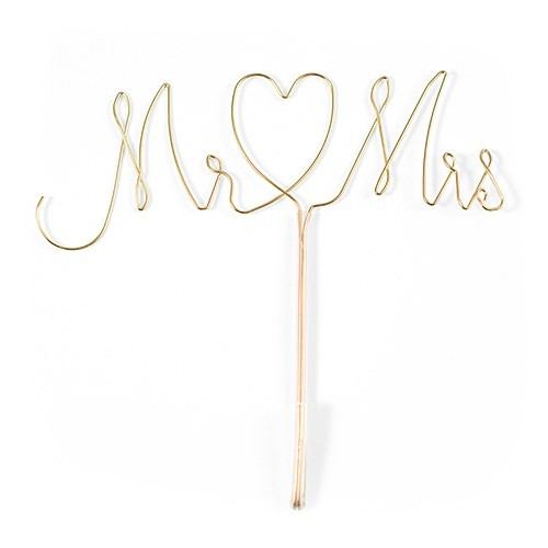 Mr & Mrs Twisted Wire Wedding Cake Topper