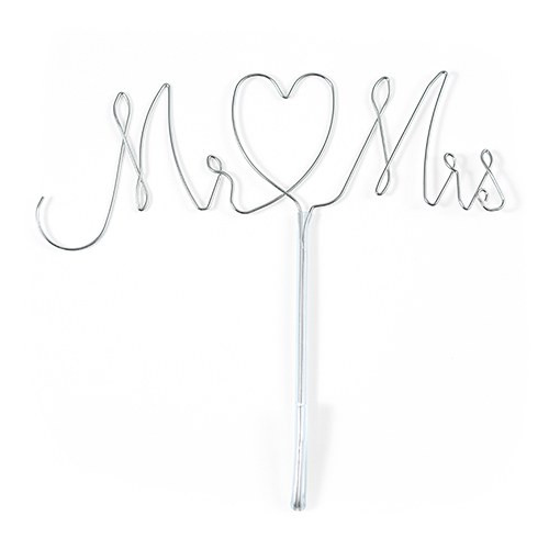 Mr and Mrs Wedding Cake Topper Silver