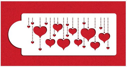 Hanging Hearts Cake Stencil