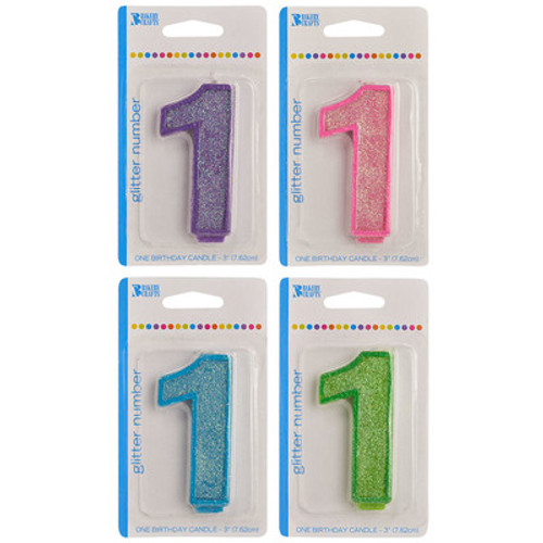 Number One Glitter Candles