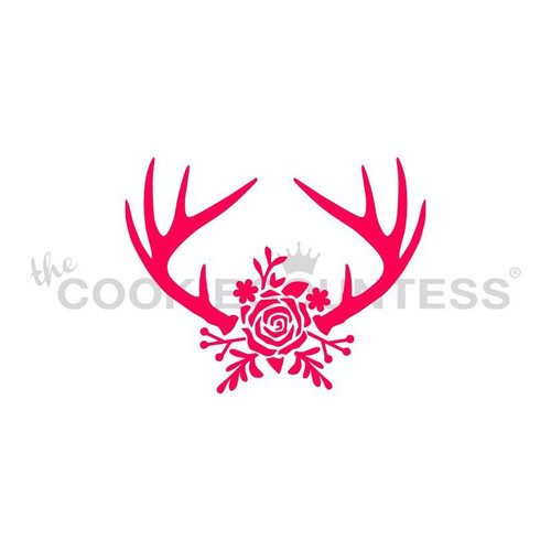 Antlers and Flowers Cookie Stencil
