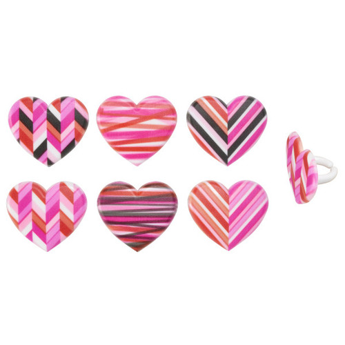 Geometric Hearts Cake or Cupcake Toppers