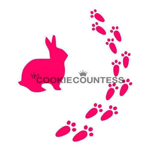 Bunny Prints Cookie Stencil