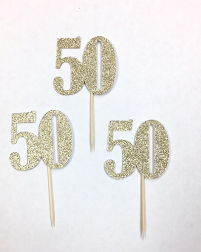 Number 50 Cake and Cupcake Toppers