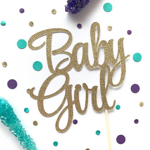 Baby Girl Glitter Cake Topper