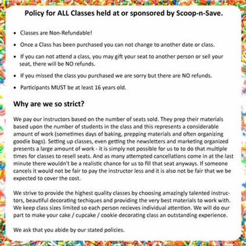 Cake Class Policy  - (Duplicate Imported from BigCommerce)