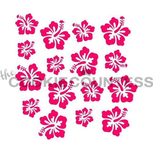 Hibiscus Flowers Cookie Stencil
