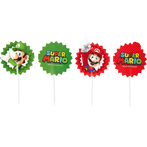 Super Mario Cake or Cupcake Toppers