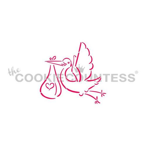 Baby Stork Cookie Stencil