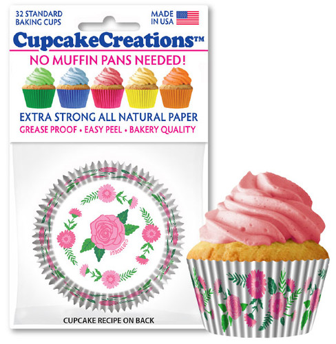 Pretty Pink Flowers Cupcake Liners