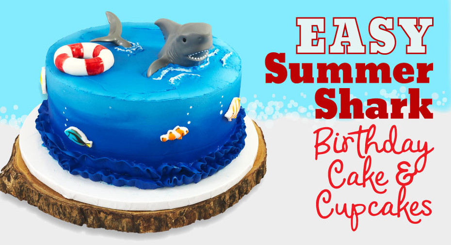Easy Shark Theme Birthday Cake & Cupcakes