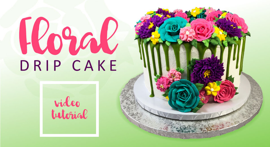 Floral Drip Cake Tutorial with Piped Icing Flowers