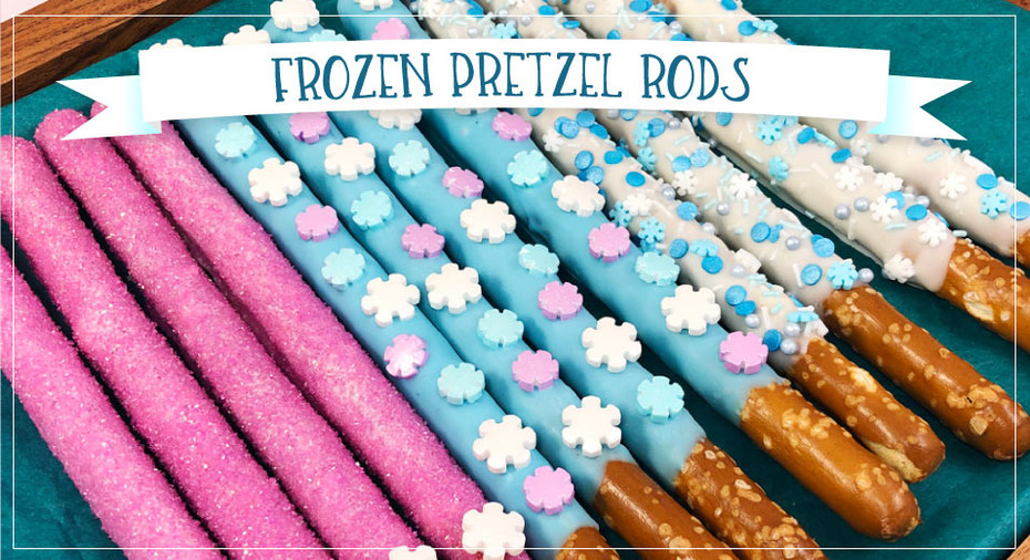 Easy Frozen Themed Pretzel Rods